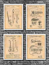 "Fender Guitar Patent Poster Prints - Set of 4 - Unframed 8.5"" X 11"" Art Drawing"
