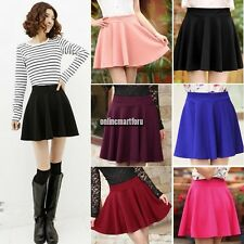 Hot Women Mini Flared Skirt Candy Color Stretch Waist Plain Pleated dress ONMF