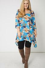 NEW WOMANS LADIES 3/4 SLEEVE BLUE HANDKERCHIEF PRINT STYLE TOP WITH PLUS SIZE