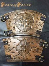 -A PAIR- Medieval Knight Viking Armor Runes Celtic Designs Leather Cuffs BracerS