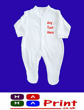 PERSONALISED Baby Grow Embroidered SLEEPSUIT -  ANY NAME