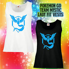 TEAM MYSTIC LADY FIT VEST blue gamer geek nerd Pokemon go comic hipster shirt