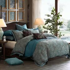 Luxury Blue & Brown Jacquard Paisley Comforter Set AND Decorative Pillows