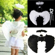 Princess Fairy Feather Angel Wings Wand Halo Set Party Costume Fancy Dress 3PCS