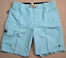 NWT MENS POLO RALPH LAUREN CLASSIC HAMM BLUE BOARD SHORTS SWIM TRUNKS SZ M
