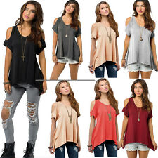 Women Fashion Summer Loose Top Short Sleeve Blouse Ladies Casual Tops T-Shirt w2