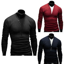 Mens T-Shirt Slim Fit Long Sleeve Collarless Button Stretch Henley Neck Tee Top