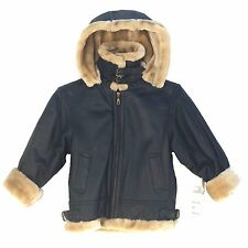 K15312 Dimension, B-3 Style Kids Bomber Leather Jacket, Artificial fur Lining &