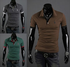New Mens Stylish Casual Slim Fit Short Sleeve Polo Shirt T-shirts Tee Shirt hj03