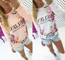 New Women's Casual Blouse Cotton Shirt Loose Long Sleeve  Tops Ladies T-shirt v0