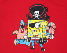 NEW  KIDS   FUNNY T - SHIRT TEE ☠  SPONGEBOB SQUAREPANTS PIRATE  RED  *ALL SIZES