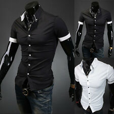 New Solid Color Mens Lapel POLO Shirt Short Sleeve Slim Fit Casual Tee T-shirt A