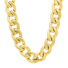 18mm 14k Gold Plated Cuban Link Curb Chain Necklace