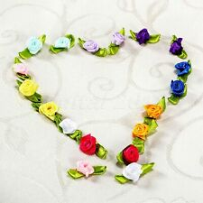 100Pcs Mini Satin Ribbon Rose Flower Wedding Decor Appliques Craft Sewing Leaves