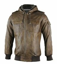 Mens Real Leather Brown Bomber Hooded Jacket Casual Vintage Retro Style S - 4XL