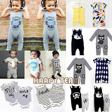 Newborn Baby Girls Boys Romper Playsuit Jumpsuit One-piece Outfit Bodysuit 0-24M