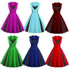 New Women Vintage 50s Swing Solid Polka Dot Pinup Rockabilly Evening Party Dress