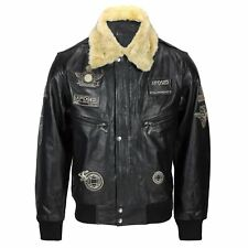 Mens Real Leather Black Detachable Fur Collar Badge Jacket Aviator Bomber S -6XL