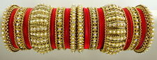 RED CZ PEARL GOLD TONE TRADITIONAL BOLLYWOOD BANGLE SET CHURI JEWELRY