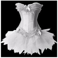 Sexy Satin Swan Dance Costume Corset Tutu Skirt Fancy Dress Halloween Outfit