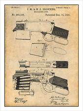 Winchester 1892 Browning Lever Action Rifle Patent Print Art Drawing Poster