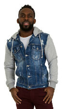 Mens Stonewash Denim Jacket with Hood Slim Fit Grey Jersey coton detachable hood