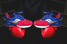 SAUCONY GRID 9000 SPARRING Men's Leather Red & Navy Trainers