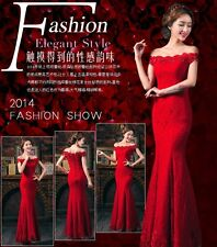 Red lace formal long evening dress dinner party wedding bridesmaid dress #101