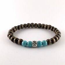 Wood Turquoise Bead Bracelet Wristband Men Women Stretch Bracelete Bangle Mens
