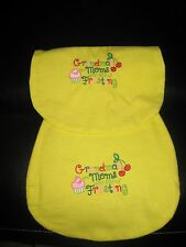 Embroidered:GRANDMAS ARE MOMS WITH LOTS OF FROSTING Handmade Flannel Burp Cloths