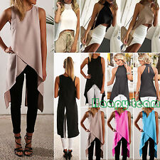 Womens Irregular High Neck Vest T-shirt Casual Sleeveless Tank Tops Long Blouse