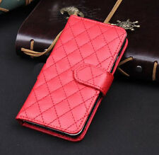 Red Wallet Case Grid Folio Soft Sheepskin PU Leather Case For S6{OH-223