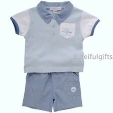 Baby Boys 2 Piece Cotton Outfit/Set Polo Shirt & Shorts 9-12 12-18 Month