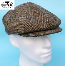 Flat Cap Newsboy Baker Boy 8 Panel Olive Tweed 100% Wool