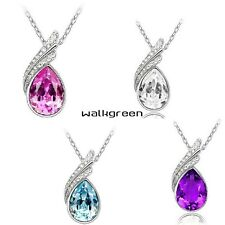 Stylish Heart Chain Crystal Fashion Jewelry Necklace Pendant Gift 4 colour WN