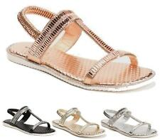 Ladies Womens Slingback Gladiators Diamante Flat Summer Beach Sandals Shoes Size