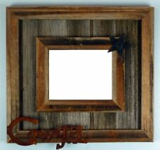 NEW RUSTIC FARMHOUSE METAL COWGIRL STAR BARNWOOD PICTURE CANVAS FRAME DECOR
