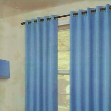 """Pair Of Plain BLUE Eyelet Ring Top BLACKOUT Curtains 53"""" wide x 53"""" & 72"""" Drop"""