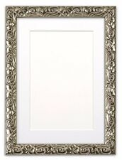 Antique Cushion Ornate Swept Picture Photo Frame With Bespoke Mount Silver