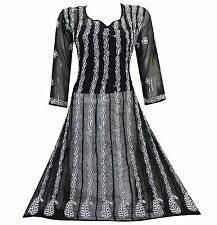 Handcrafted Lucknow Chikan Georgette Hand Embroidered Kurta