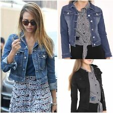 New Ladies Womens Denim Jacket Cropped Jean Long Sleeve Vintage Outerwear