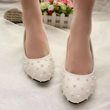 White pearl Wedding shoes Bridal shoes flats shoes high heels Bridesmaid shoes