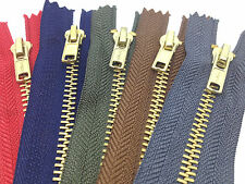 "One x Brass Trouser Jeans Zip Zipper - Closed End - 17 Colours, 4"" to 8 inches"