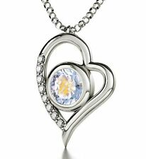 925 Sterling Silver Pendant Luminous Round Virgo Crystal Chain Necklace Jewelry