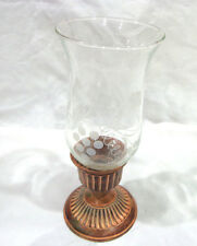 vintage brass and glass hurricane candle lamp made in India