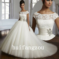 White Wedding Dresses Bridal Ball Gowns Lace Size 6 8 10 12 14 16 in Stock New