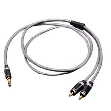 3.5mm Jack Plug to 2 RCA Stereo Jack Headphone Extension Cable Aux Audio Lead *