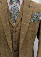 MENS BROWN CHECK TAILORED FIT 3 PIECE TWEED SUIT PERFECT FOR WEDDINGS!