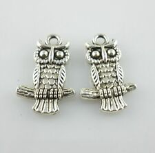 32/250pcs Tibetan Silver Owl Charms Pendants Jewelry Making 13x20mm