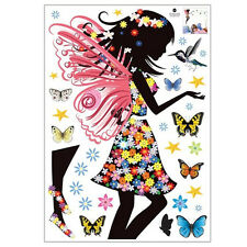 Angel butterfly wings Beautiful girl color Wall Stickers N7N7